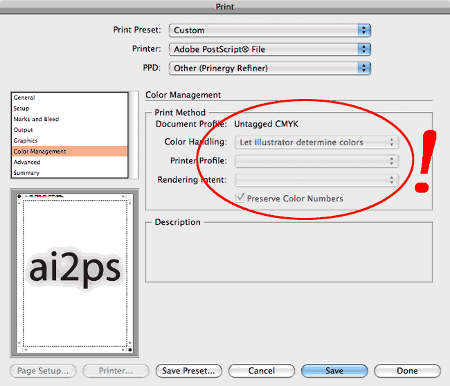 ai2ps Adobe Illustrator Print Color Management Dialog