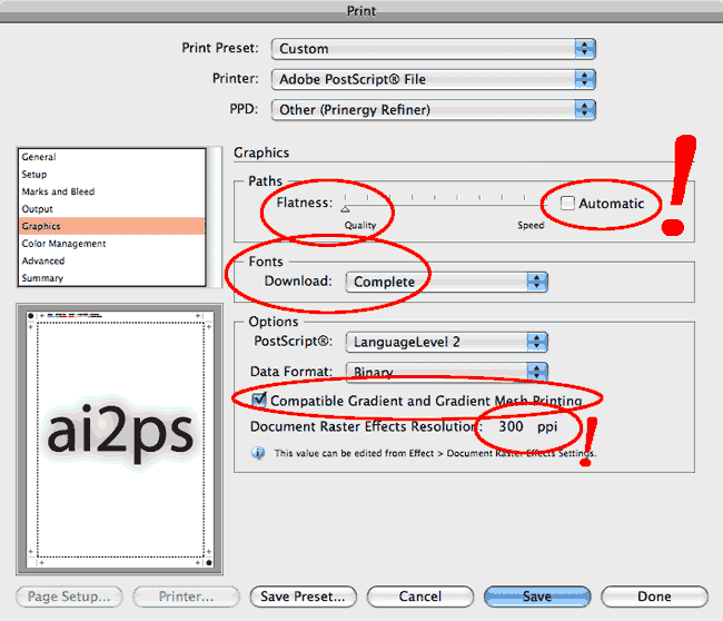 ai2ps Adobe Illustrator Print Graphics Dialog