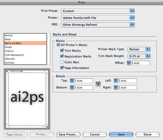 ai2ps Adobe Illustrator Print Marks Dialog