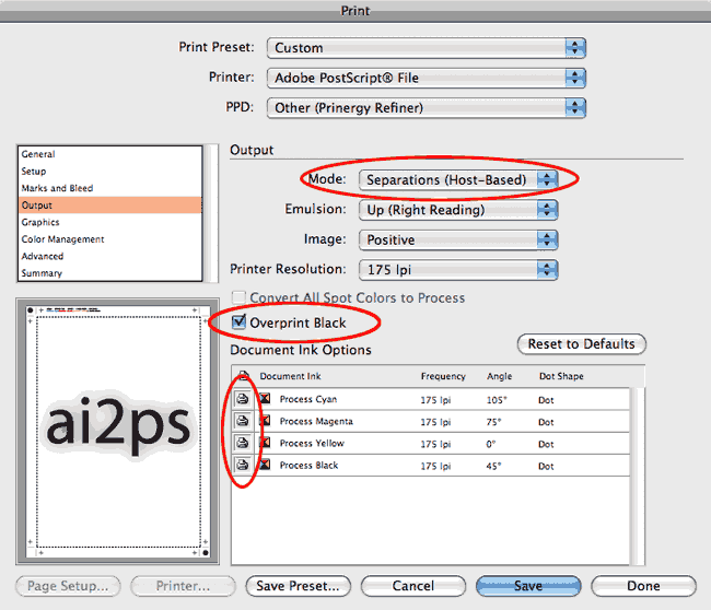 ai2ps Adobe Illustrator Print Output Dialog