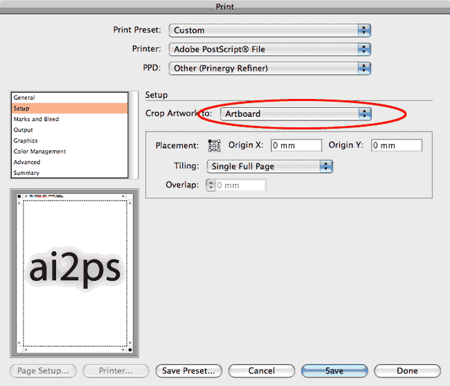 ai2ps Adobe Illustrator Print Setup Dialog
