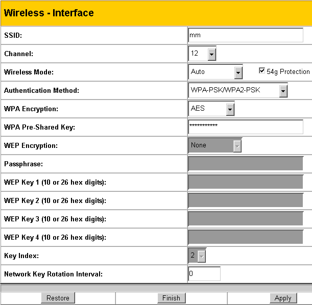 wl566 wireless interface configurations